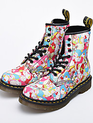 baratos -Mulheres Sapatos Pele Napa Outono & inverno Coturnos Botas Salto Baixo Ponta Redonda Botas Curtas / Ankle para Ao ar livre Arco-íris