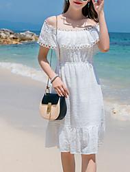 baratos -Mulheres Básico Evasê Vestido - Vazado, Sólido Altura dos Joelhos