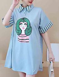 baratos -Mulheres Tamanhos Grandes Camisa Social Retrato Colarinho de Camisa