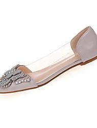 abordables -Femme Chaussures Polyuréthane Printemps été Confort Ballerines Talon Plat Bout pointu Strass / Noeud Gris / Rouge / Rose