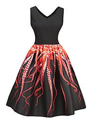 baratos -Mulheres Para Noite Vintage / Moda de Rua Delgado Evasê Vestido - Estampado, Animal Decote V Altura dos Joelhos / Primavera / Verão