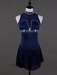 economico -Vestito da pattinaggio artistico Per donna Pattinaggio sul ghiaccio Vestiti Blu marino scuro strenchy Prestazioni / Professionale Vestiti