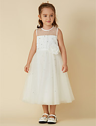 cheap -A-Line Tea Length Flower Girl Dress - Tulle Sleeveless Jewel Neck with Sash / Ribbon Flower by LAN TING BRIDE®