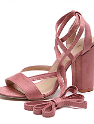 cheap -Women's Shoes Canvas Summer Slingback Sandals Chunky Heel Open Toe Brown / Red / Light Pink