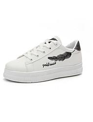 economico -Per donna Scarpe PU (Poliuretano) Primavera Comoda Sneakers Footing Piatto Punta tonda Nero / Argento / Giallo