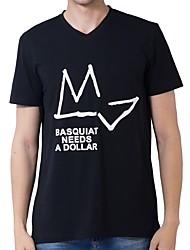 cheap -Men's Street chic Cotton / Polyester T-shirt - Geometric Round Neck / Short Sleeve