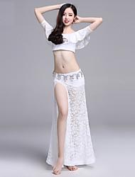 abordables -Danse du ventre Tenue Femme Utilisation Dentelle Dentelle / Ruché Manches Courtes Taille basse Jupes / Haut