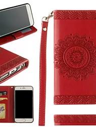 Недорогие -Кейс для Назначение Apple iPhone X / iPhone 8 Pluss / iPhone 8 Кошелек / Бумажник для карт / Флип Чехол Мандала / Цветы Твердый Кожа PU