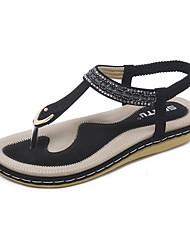 Недорогие -Жен. Обувь Искусственное волокно Лето Оригинальная обувь Сандалии На плоской подошве Круглый носок Стразы / Кристаллы Черный / Миндальный