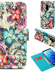 baratos -Capinha Para Samsung Galaxy S9 Plus / S9 Carteira / Porta-Cartão / Com Suporte Capa Proteção Completa Flor Rígida PU Leather para S9 / S9 Plus / S8 Plus