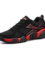 baratos -Mulheres Sapatos Tule / Couro Ecológico Outono Conforto Tênis Corrida Sem Salto Ponta Redonda Preto / Vermelho / Black / azul / Preto /