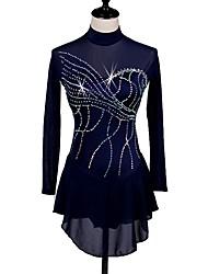 abordables -Vestido de patinaje artístico Mujer Patinaje Sobre Hielo Vestidos Azul Marino Oscuro Ropa de Patinaje Secado rápido, Diseño Anatómico