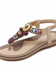 Недорогие -Жен. Обувь Полиуретан Лето Удобная обувь Сандалии На плоской подошве Черный / Розовый / Миндальный