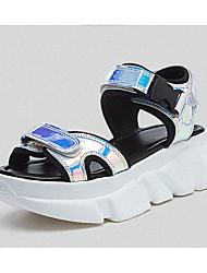 baratos -Mulheres Sapatos Courino Primavera Verão Conforto Sandálias Sem Salto Dedo Aberto Lantejoulas Arco-íris / 3D / Côr Camuflagem