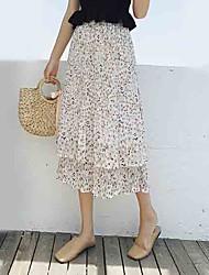 baratos -saias midi uma linha saias das mulheres - cintura alta floral