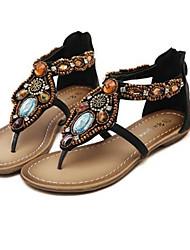 cheap -Women's Shoes PU(Polyurethane) Summer Gladiator Sandals Flat Heel Open Toe Rhinestone Black / Brown