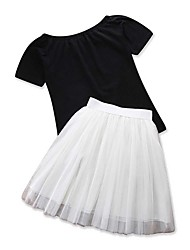 cheap -Adults / Kids / Toddler Girls' White / Black / Black & White Solid Colored Short Sleeve Clothing Set