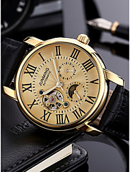 cheap -Men's Military Watch / Dress Watch Japanese Calendar / date / day / Chronograph / Hollow Engraving Genuine Leather Band Luxury / Fashion