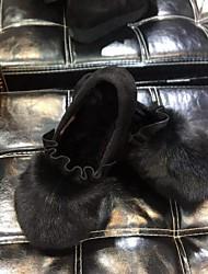 Недорогие -Жен. Обувь Кожа / мех Зима Удобная обувь Мокасины и Свитер На плоской подошве Черный / Серый