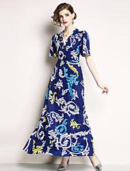 economico -Per donna Per uscire Vintage / sofisticato Manica Flare Taglia piccola Linea A / Swing Vestito - Con stampe, Fantasia geometrica A V Maxi