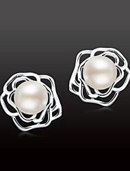 cheap -Women's Stud Earrings - S925 Sterling Silver, Freshwater Pearl Flower Natural, Sweet, Elegant White For Gift / Daily