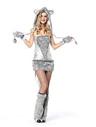 abordables -Loup Costume de Cosplay Halloween Fête / Célébration Déguisement d'Halloween Gris Mode