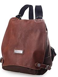 Недорогие -Жен. Мешки холст рюкзак Пуговицы Кофейный / Темно-коричневый