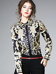 baratos -Mulheres Camisa Social - Feriado / Trabalho Moda de Rua Estampado, Estampado Cashemere Colarinho de Camisa