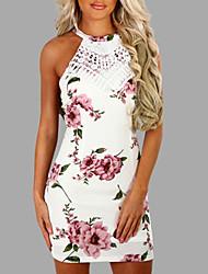 cheap -Women's Skinny Bodycon Dress - Floral High Waist Mini Crew Neck
