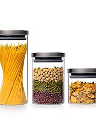 baratos -Organização de cozinha Enlatados e Conservação / Armazenamento de alimentos Vidro Armazenamento / corpo transparente / Fácil Uso 3pçs