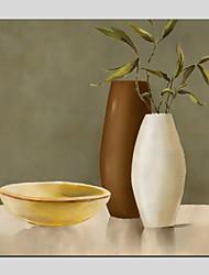 abordables -Pintura al óleo pintada a colgar Pintada a mano - Naturaleza muerta / Floral / Botánico Modern Lona