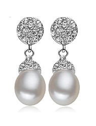 cheap -Women's Pearl / Freshwater Pearl Drop Earrings - Pearl, S925 Sterling Silver, Freshwater Pearl Natural, Korean, Elegant White For Party / Gift