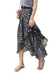 baratos -Saia maxi saias de uma linha feminina - cintura alta floral