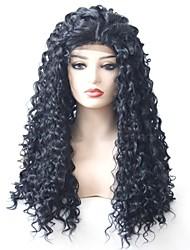billige -Syntetisk Lace Front Parykker Krøllet Mellemdel 180% Menneskelige hår tæthed Syntetisk hår Varme resistent / Dame / Afro-amerikansk paryk Sort Paryk Dame Lang Blonde Front