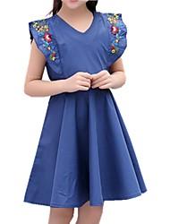 cheap -Kids Girls' Solid Colored / Jacquard Short Sleeve Dress