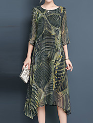Недорогие -Жен. Богемный / Изысканный А-силуэт Платье - Цветочный принт, С принтом Средней длины