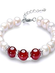 cheap -Women's Onyx / Freshwater Pearl Strand Bracelet - S925 Sterling Silver, Freshwater Pearl Dainty, Classic, Vintage Bracelet Red For Party / Gift