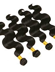baratos -4 pacotes Cabelo Brasileiro Onda de Corpo Cabelo Humano Cabelo Humano Ondulado / Um Pacote de Solução / Extensões de Cabelo Natural 8-28 polegada Tramas de cabelo humano extensão / Melhor qualidade