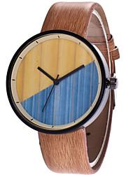 baratos -Homens / Mulheres Relógio de Pulso Chinês Relógio Casual PU Banda Madeira / Fashion Marrom / Cinza