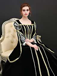 abordables -Princesse Renaissance Costume Femme Robes / Tenue / Costume de Soirée Noir Vintage Cosplay Polyester Manches 3/4 Gigot / Ballon Déguisement d'Halloween