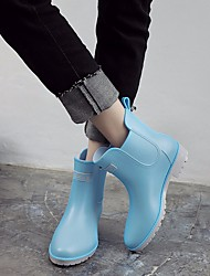 Недорогие -Жен. Обувь КожаПВХ Осень Резиновые сапоги Ботинки На низком каблуке Черный / Розовый / Светло-синий
