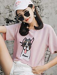 baratos -Mulheres Camiseta Básico Paetês / Estampado, Sólido / Animal