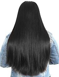baratos -Não processado / Cabelo Humano Frente de Malha Peruca Cabelo Peruviano Liso Peruca Parte lateral 250% Com Baby Hair / Riscas Naturais / Para Mulheres Negras Natural Mulheres Longo / Comprimento médio