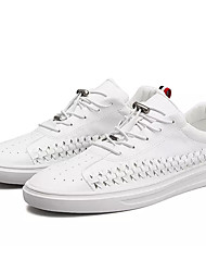 billige -Herre Sko Syntetisk Mikrofiber PU / PU Sommer Komfort Sneakers Hvid / Sort / Grå