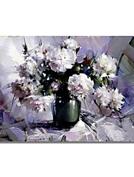 cheap -STYLEDECOR Modern Hand Painted Abstract Still Life Vase White Flower Oil Painting on Canvas for Wall Art