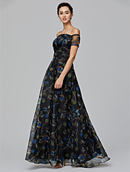 cheap -A-Line Off Shoulder Floor Length Organza Formal Evening / Holiday Dress with Pattern / Print by TS Couture®