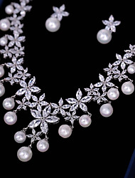 cheap -Women's Cubic Zirconia Jewelry Set - Flower Fashion Include Drop Earrings / Pendant Necklace White For Wedding / Party