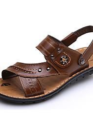 povoljno -Muškarci Cipele Koža Ljeto Udobne cipele Sandale Crn / Tamno smeđa / Žutomrk
