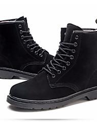 baratos -Mulheres Sapatos Pele Inverno Coturnos Botas Sem Salto Botas Curtas / Ankle Preto