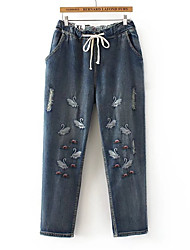 cheap -Women's Basic Cotton / Spandex Loose Jeans Pants - Animal Crane, Embroidered / Spring / Summer